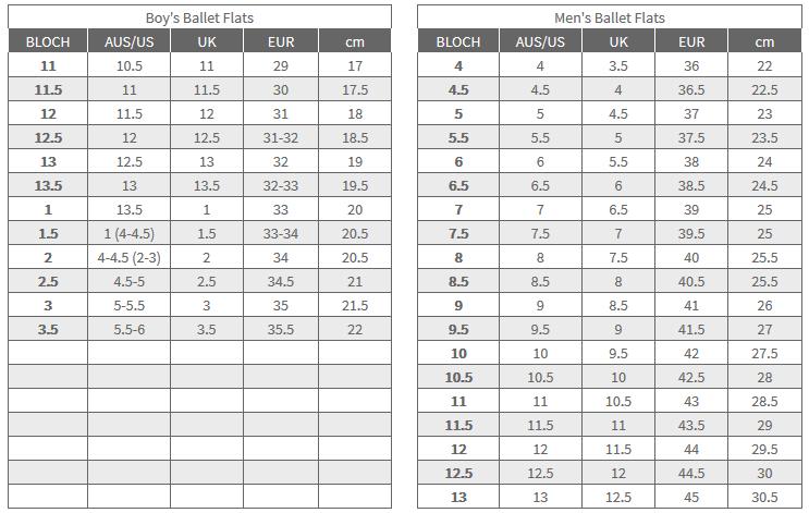 Bloch Ballet Shoe Size Chart.Bloch Prolite Leather Full Sole Ballet Shoe